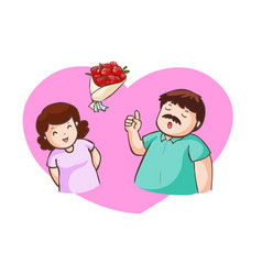 Husband and wife talk about valentine vector