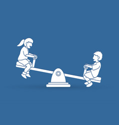 little boy and girl are playing seesaw vector image