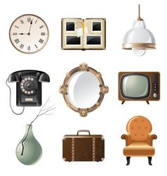 retro - styled home related objects vector image