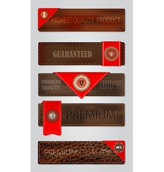 Set of leather premium quality labels and emblems vector image vector image