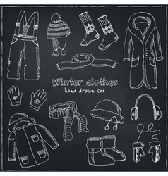 Winter clothes set Vintage for vector image