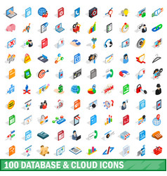 100 database and cloud icons set isometric style vector