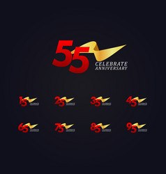 55 years anniversary celebration elegant gold vector