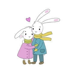 A couple of cute rabbits Funny animals vector image vector image