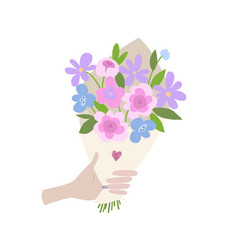 a male hand gives spring bouquet of flowers vector image vector image