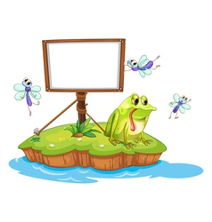 A sad frog and a white blank board vector image