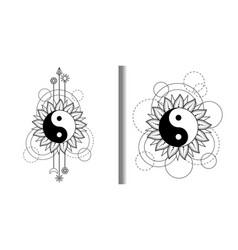 Abstract patterns set with yin and yang sun moon vector