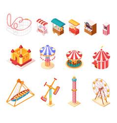 Amusement park isometric cartoon icons set vector
