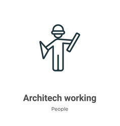 Architech working outline icon thin line black vector