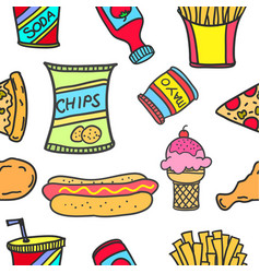 Art of food various doodle set vector