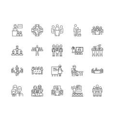 audience line icons signs set outline vector image