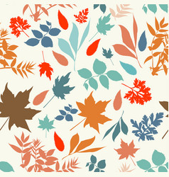 Autumn rustic pattern with colored leaves vector