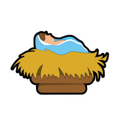 Baby jesus in straw cradle vector