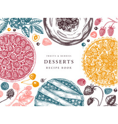 Berries cakes and pies cooking process banner vector