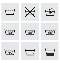black washing signs icon set vector image