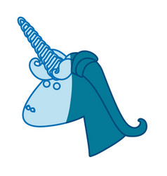 Blue silhouette of face side view of male unicorn vector