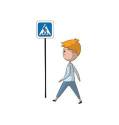 Boy is walking past sign crosswalk vector