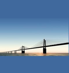 bridge dusk sunset vector image