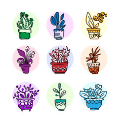 Bright icon set of housplants vector