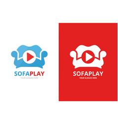 Button play and sofa logo combination vector