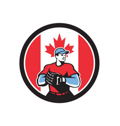 canadian baseball pitcher canada flag icon vector image