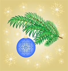 Christmas decoration branch with blue ball vector image