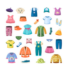 colorful clothes for little ones set stylish vector image