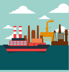 container and tanker ship factory oil industry vector image