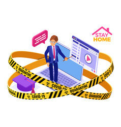 Covid-19 quarantine stay home online education vector