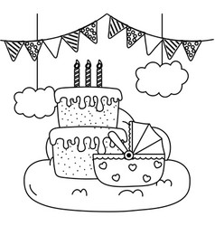Cradle with birthday cake in black and white vector