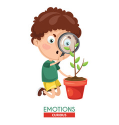Curious kid emotion vector
