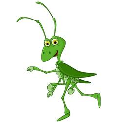 Cute grasshopper cartoon walking vector