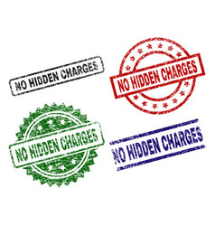 Damaged textured no hidden charges stamp seals vector