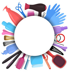 Diverse hairdresser stylist tools with blank vector