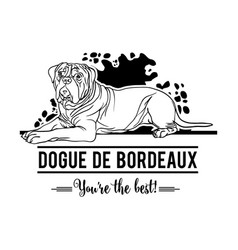 Dogue de bordeaux dog happy face paw puppy pup pet vector