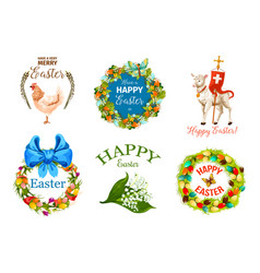 Easter day cartoon label set for holiday design vector