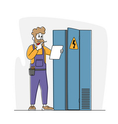 Electrician examine working draft or measure vector