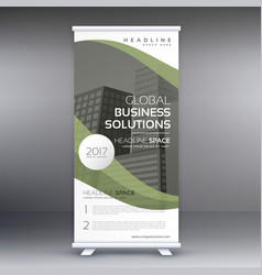 Elegant green wavy business standee roll up vector