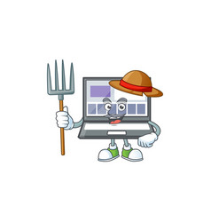Farmer laptop with a cartoon character style vector