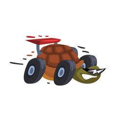 Fast turtle on wheels funny animal cartoon vector