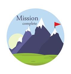 Flag on mountain vector