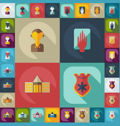 Flat concept set modern design with shadow court vector