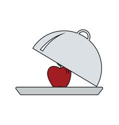 flat design icon of apple inside cloche vector image
