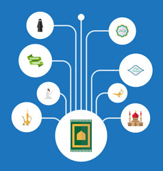 Flat icons minaret arabic calligraphy muslim vector