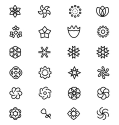 Flowers and Floral Line Icons 6 vector