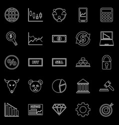 Forex line icons on black background vector