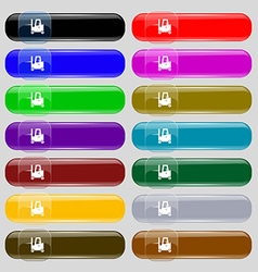 Forklift icon sign Set from fourteen multi-colored vector