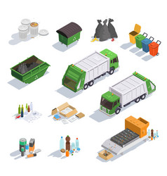garbage and recycling sorting for environmental vector image