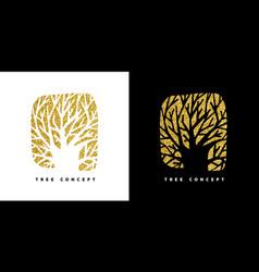 Gold glitter tree concept symbol for nature care vector