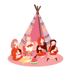 group of moms gathering bring their baby together vector image